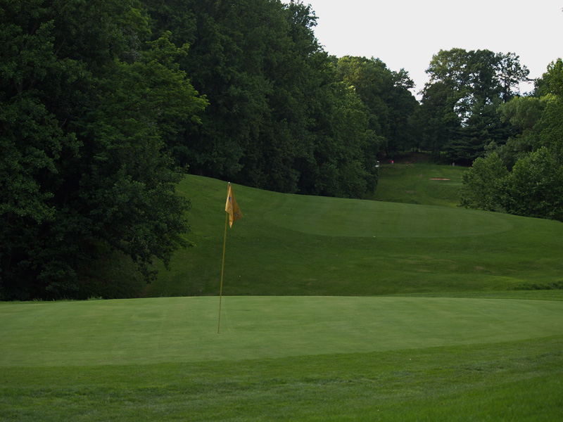 View of sixteenth hole from behind the green toward the tee. Click to enlarge